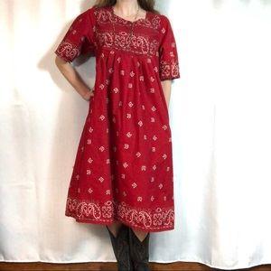 Western Style Bandana Print Dress